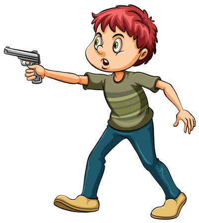 Armed man with a gun on a white background Illustration