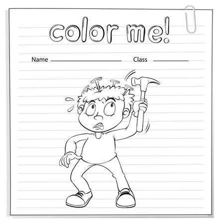 hammering: Coloring worksheet with a young boy hammering his head on a white background