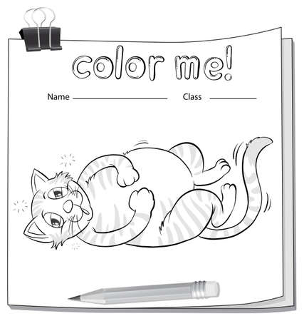coloring sheets: Coloring worksheet with a fat cat and a pencil on a white background