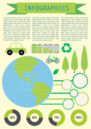 concise: Infochart showing the planet Earth with circular graphs Illustration