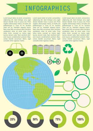 infochart: Infochart showing the planet Earth with circular graphs Illustration