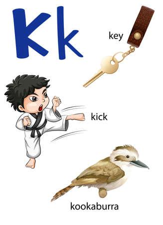 lettre alphabet: Lettre K pour la clé, coup de pied et Kookaburra sur un fond blanc