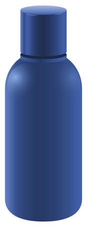 bottling: Blue bottle with a cover on a white background