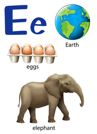 e white: Letter E for Earth, eggs and elephant on a white background Illustration