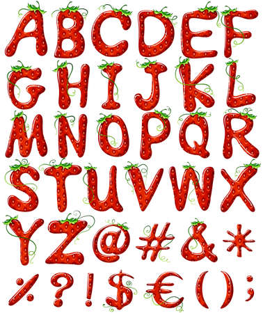 bundle of letters: Capital letters of the alphabet with strawberry design on a white background Illustration
