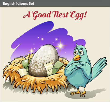 idiom: Poster with an English idiom showing a nest with money Illustration