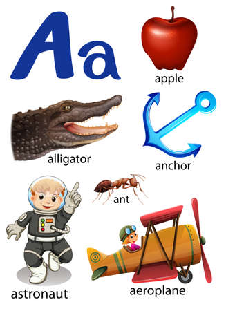vowel: Things that start with the letter A on a white background Illustration