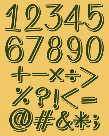 six point: Set of numeric figures in green color