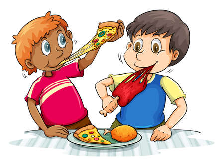 Two hungry boys eating on a white background Illustration