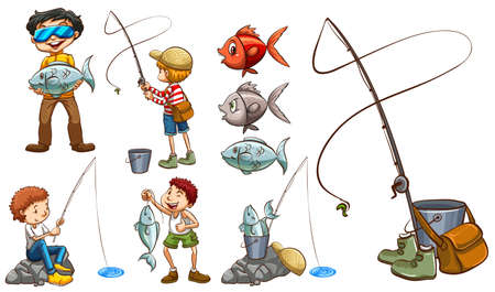 fish clipart: People with the same hobby on a white background Illustration