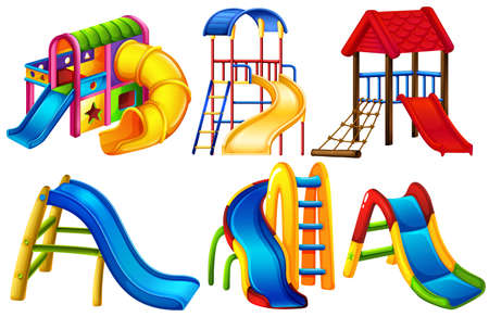 niños en area de juegos: Conjunto de diapositivas en color en un fondo blanco