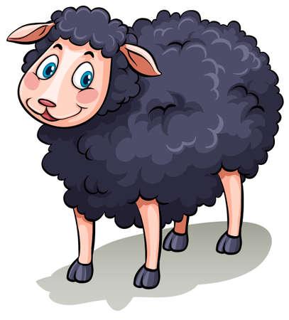 白い背景の上に 1 つのかわいい黒い羊