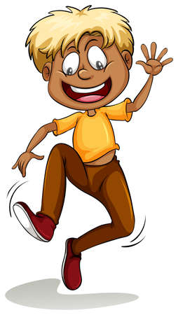 dark complexion: Man wearing a yellow shirt jumping out of joy on a white background Illustration