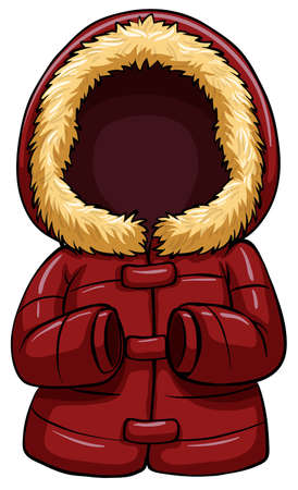 fur coat: One red body warmer on a white background