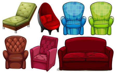armrests: Group of chair furnitures in different designs on a white background