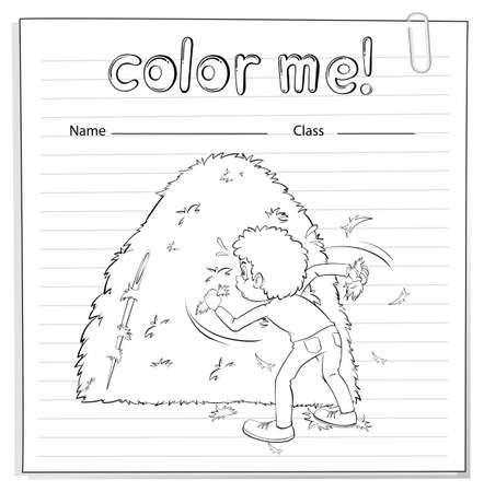 haystack: Coloring worksheet with a boy looking at the haystack on a white background