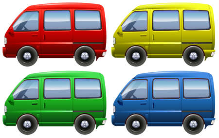 mini bus: Set of colourful vans on a white background