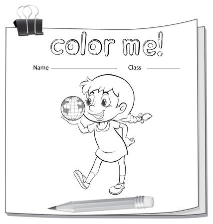 workbook: Coloring worksheet with a little girl holding a globe on a white background