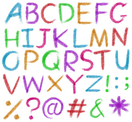 capitalized: Big letters of the alphabet in bright colors on a white background Illustration
