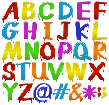 capitalized: Rainbow coloured big letters of the alphabet on a white background