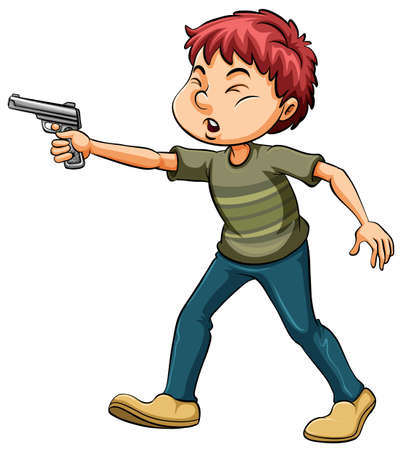 discharge: Angry boy holding a gun on a white background Illustration