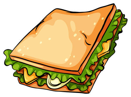 sandwich white background: One delicious sandwich with lettuce on a white background
