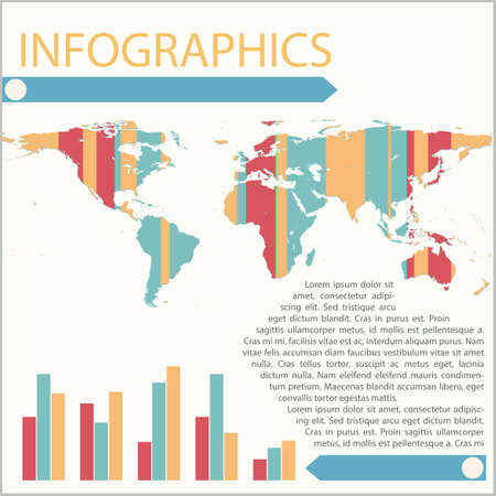 graphical chart: Infographics of a map with a bar graph on a white background