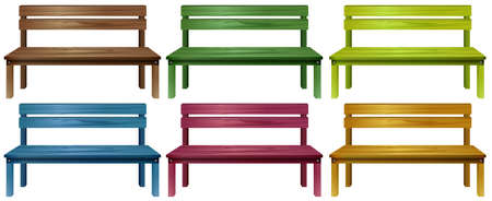 smooth legs: Set of colourful wooden benches on a white background
