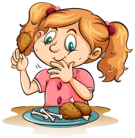 finger licking: Hungry little girl eating chicken on a white background