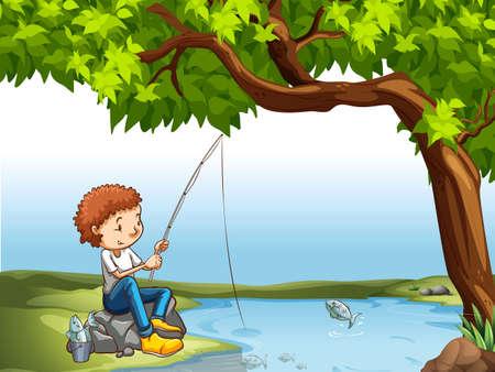 Pesca del muchacho en el río