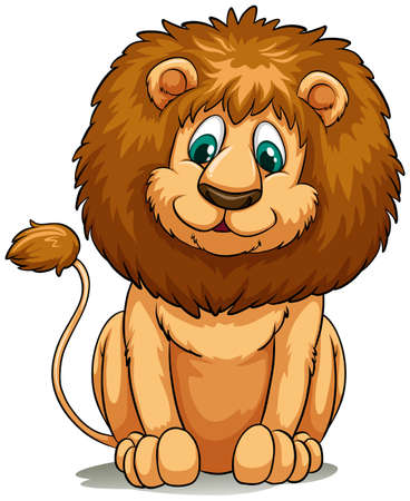 vulnerable: Brown lion behaving on a white background Illustration