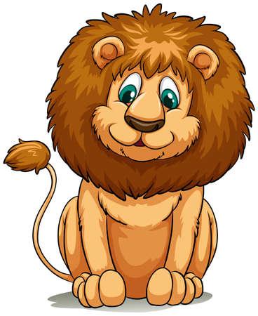 felidae: Brown lion behaving on a white background Illustration