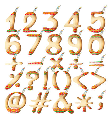 six point: Set of numeric figures in Indian artwork on a white background Illustration