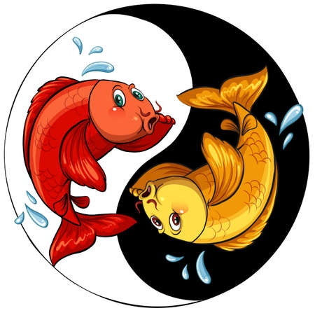 aquaculture: Template of two fishes inside a circle on a white background Illustration