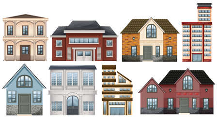 establishments: Different designs of buildings on a white background