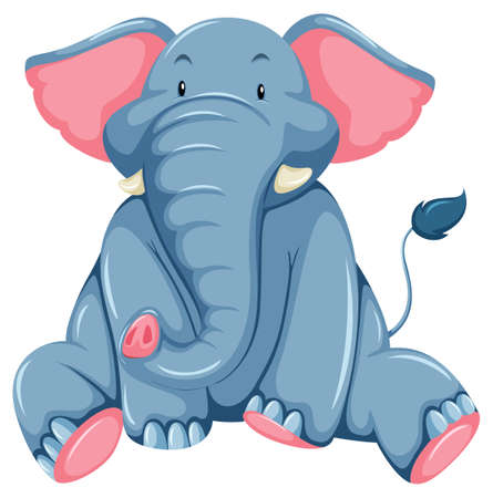 terrestrial mammal: Young blue elephant on a white background Illustration
