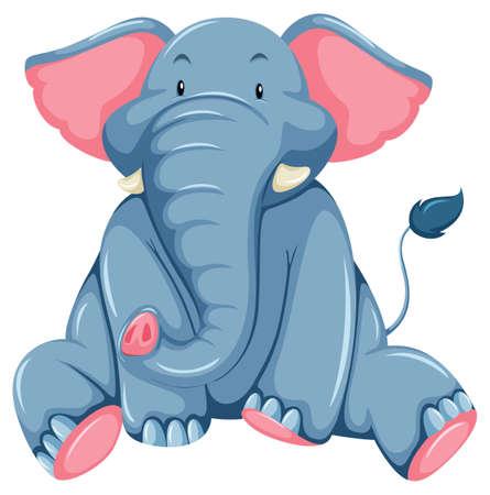 proboscis: Young blue elephant on a white background Illustration