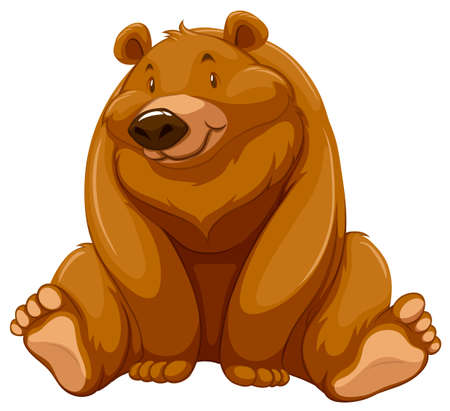 stocky: One fat brown bear on a white background