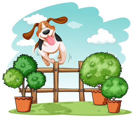 backyard work: Dog jumping over the wooden fence on a white background Illustration