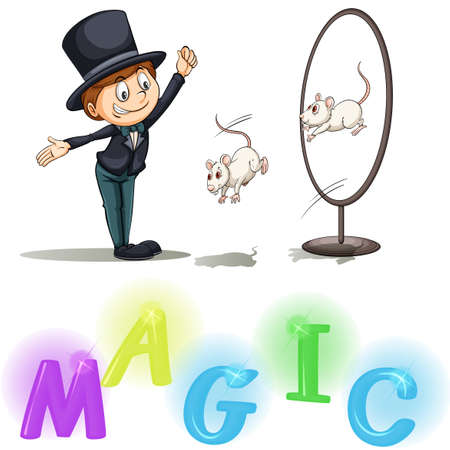 Magician showing his tricks with two mice on a white background