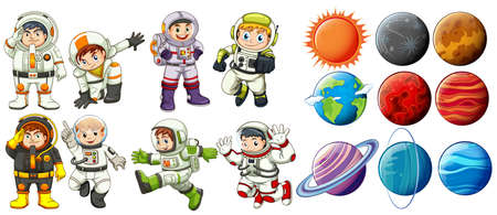 spaceflight: Group of astronauts and the planets on a white background Illustration