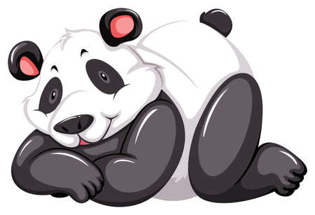 stocky: Adorable panda bear on a white background Illustration