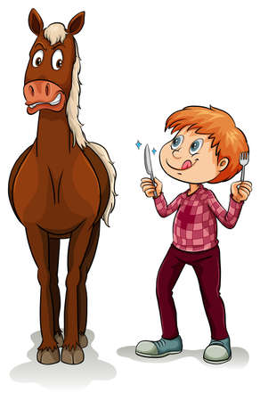 starvation: Young boy and a scared horse on a white background Illustration