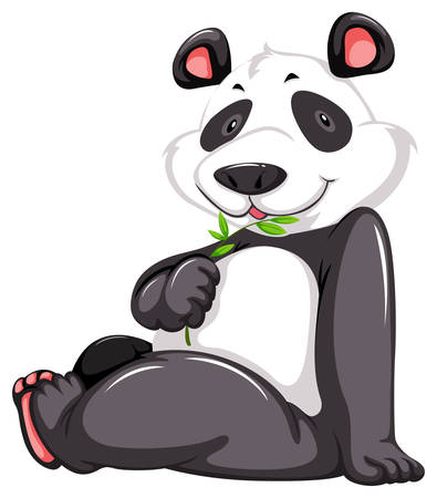 one panda: Cute panda bear on a white background Illustration