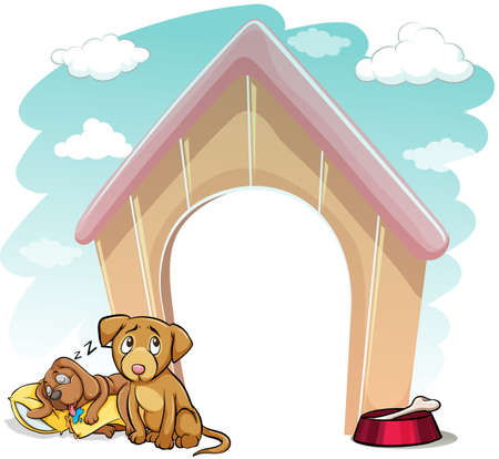 Puppies outside the wooden doghouse on a white background