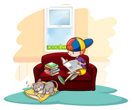 person reading: Boy studying inside the house with a sleeping cat on a white background Illustration