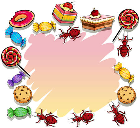 surround: Empty template surrounded with set of sweets on a white background Illustration
