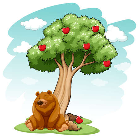 stocky: Bear under the apple tree on a white background