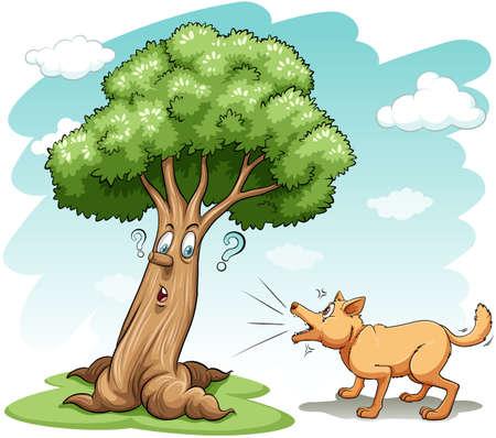barking: Cane che abbaia l'albero sbagliato su uno sfondo bianco
