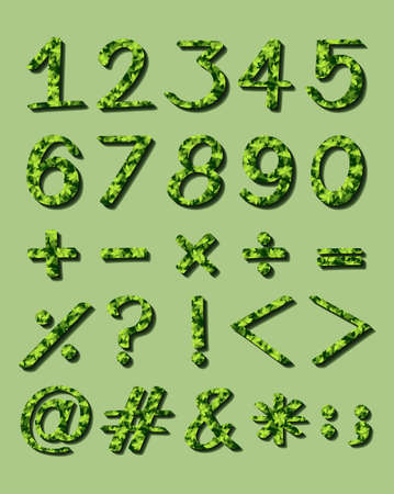 numerical: Set of numerical figures with green artwork